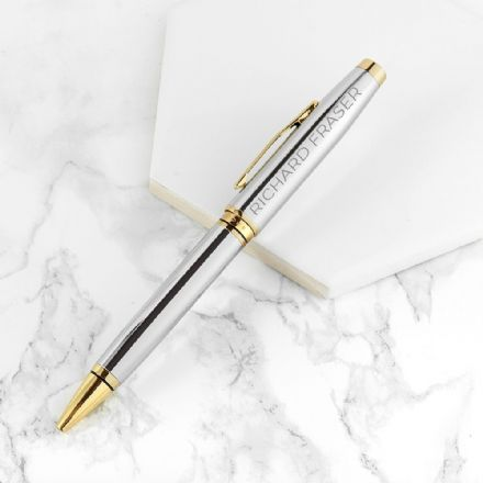Personalised Cross Coventry Ballpoint Pen - Gold & Chrome